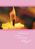 2646 Loss of Baby Girl Sympathy with Candle on Pink