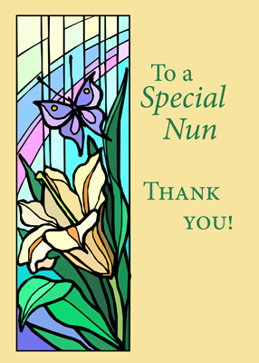 3770 Nun Thank You Stained Glass