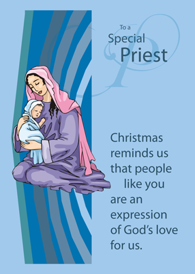 4017 Priest, Mary and Jesus on Blue Christmas