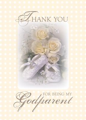 2629 Thank You Godparent, Yellow Roses, Baby Shoes