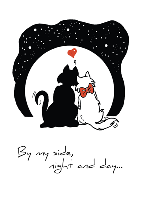 2595 Anniversary Greeting Card Two Cats for Own Relationship