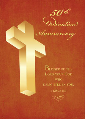 52214 50th Ordination Anniversary Gold Cross