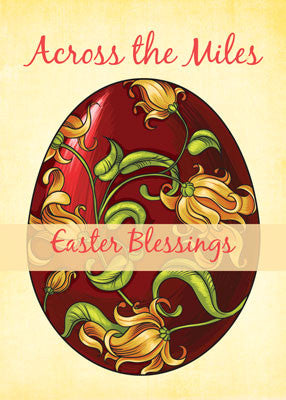 52018C Across the Miles Easter Religious Blessings, Egg with Lilies