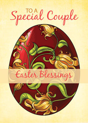 52018D Special Couple Easter Religious Blessings, Egg with Lilies