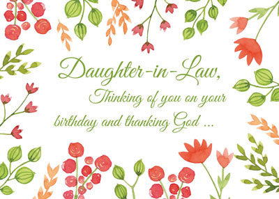 52273B Daughter-in-Law Watercolor Flowers Religious Birthday