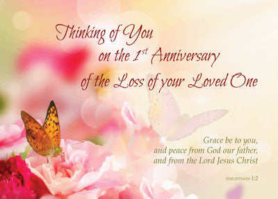 52232A First 1st Anniversary of Loved Ones Death, Religious, Pink Roses, Carnations, Butterfly