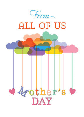 52163NN From All of Us, Cute Mother's Day Rainbow Clouds and Hearts