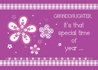52277 Granddaughter Religious Birthday, Purple, Pink, Flowers, Gingham Daisies