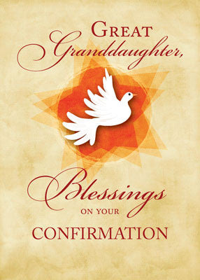 51893D Great Granddaughter, Confirmation Congratulations Blessings Dove