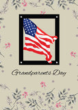 51808F Happy Grandparents Day, American Flag, Patriotic with Flowers