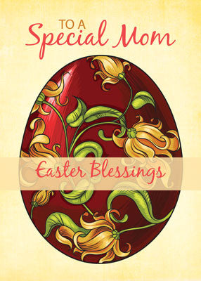 52018B Mom Easter Religious Blessings, Egg with Lilies