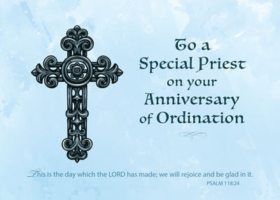 52185T Ordination Anniversary Priest, Ornate Cross