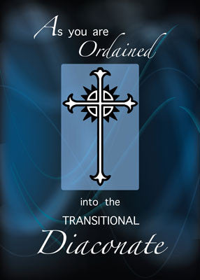 51904AA Ordination to Transitional Diaconate Cross, on Blue, Congratulations
