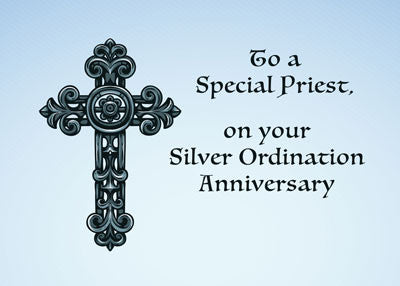 52185 Priest Silver, 25th Ordination Anniversary, Ornate Cross
