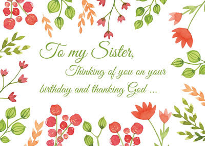52273C Sister, Watercolor Flowers Religious Birthday