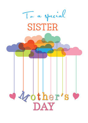 52163AA Sister, Cute Mother's Day Rainbow Clouds and Hearts