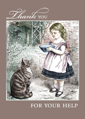 52206 Thank You for Help Vintage Girl & Cat