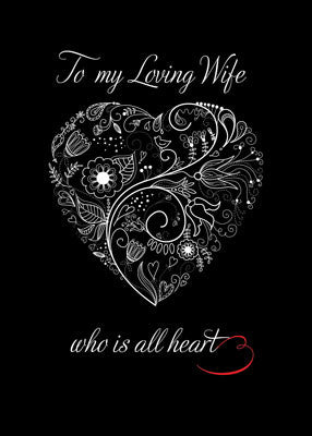 52161A Valentine to Wife, White Heart on Black