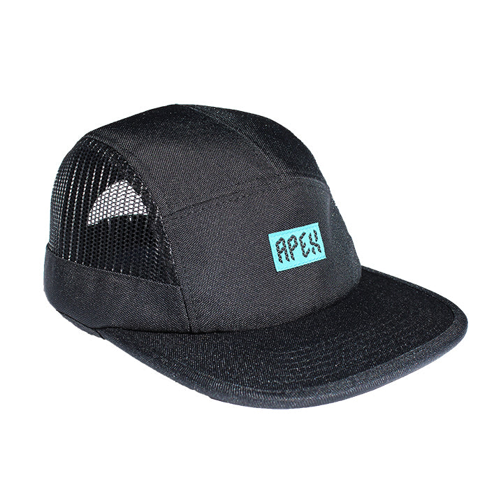 5-panel camper disc golf hat black teal