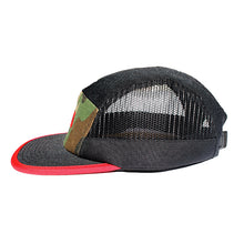 5-panel camper disc golf hat camo black red two-tone brim