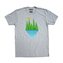 Oatmeal poly/cotton blend men's geometric disc golf t-shirt