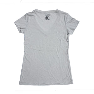 Oatmeal poly/cotton blend women's geometric disc golf v-neck t-shirt