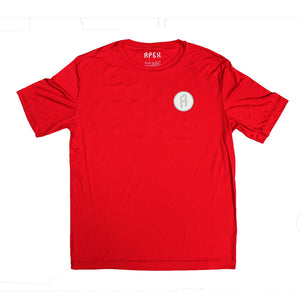 "Red men's performance disc golf t-shirt ""get on top of your game"""