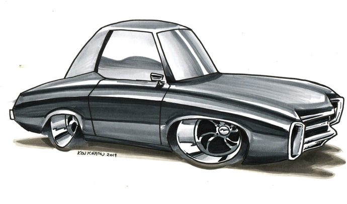 B&W Marker Car Drawing