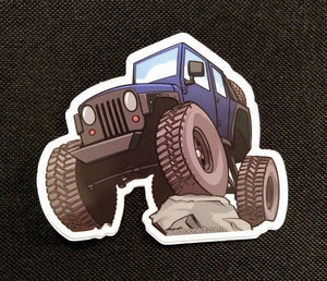 4 inch Car Caricature Vinyl Sticker - Jeep Wrangler