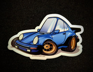 4 inch Car Caricature Vinyl Sticker - Porsche 911