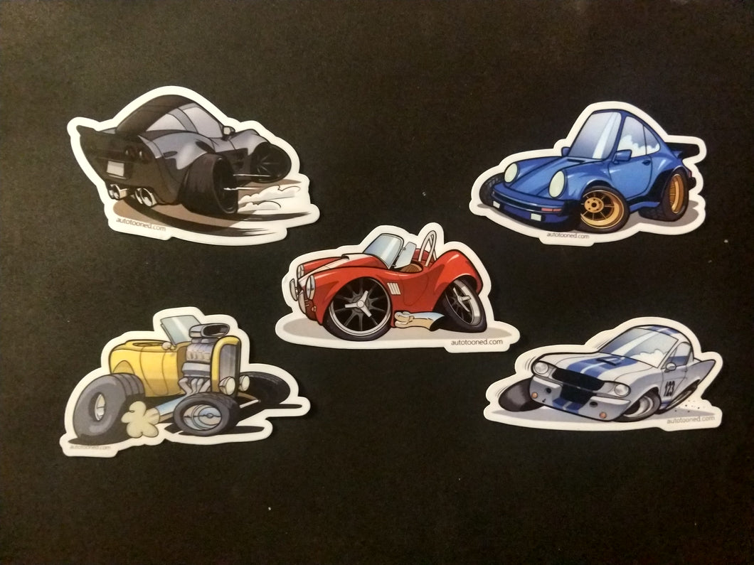 4 inch Car Caricature Vinyl Sticker - Sticker Pack 1