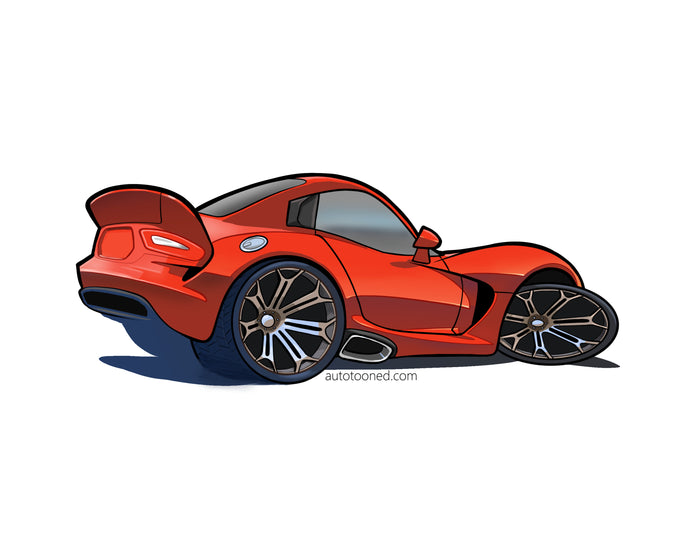 8 x 11 color art print dodge viper