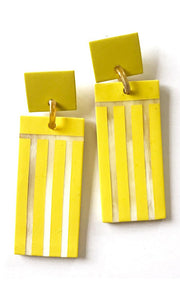 Block Party Statement Earrings - Yellow