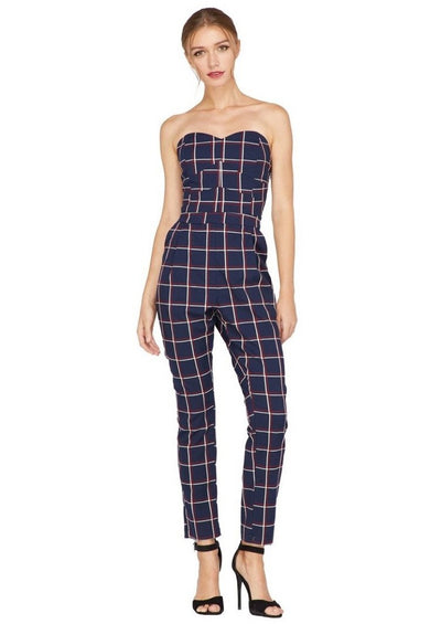 Yara Plaid Strapless Jumpsuit