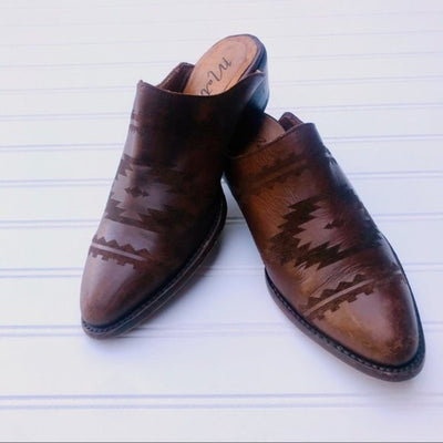 Leather Western Vintage Slides