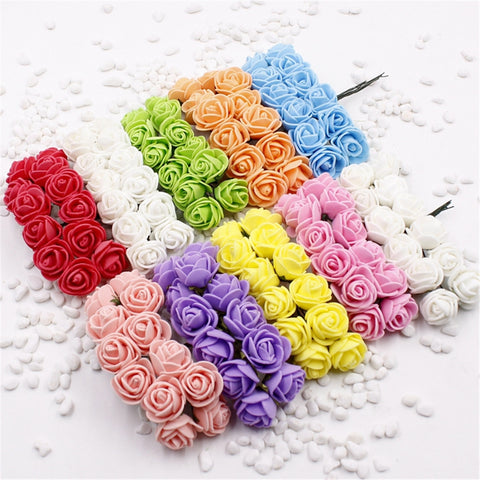 12 pcs Mini Foam Rose Artificial Fake Flowers For Home Wedding Car Decoration - fitnessbeststore