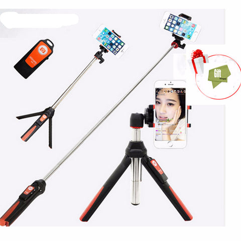 Handheld Tripod 3 in 1 Selfie Stick with Bluetooth Remote Shutter for Gopro/iPhone/Samsung