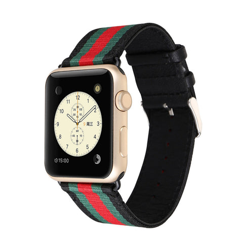 Woven Canvas band for Apple Watch 3 42mm 38mm leather Bracelet wrist band for iwatch Series 3/2/1 with metal buckle - fitnessbeststore