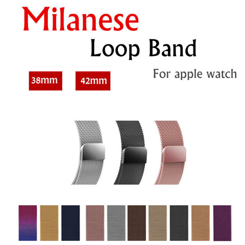Milanese Loop For Apple Watch band strap 42mm/38mm iwatch 3/2/1 Stainless Steel Link Bracelet wrist watchband magnetic buckle - fitnessbeststore