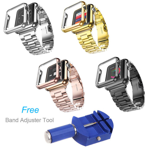 Protective Case Cover Stainless Steel Bracelet For Apple Watch Band Series 2 1 iWatch 42mm 38mm Strap with Tool - fitnessbeststore