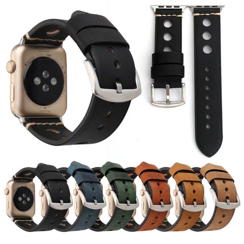 Retro Genuine Leather Strap for Apple Watch Series 3 2 1 Band iWatch Round Hole Wristbands Classic Buckle Vintage Bracelet 38/42 - fitnessbeststore
