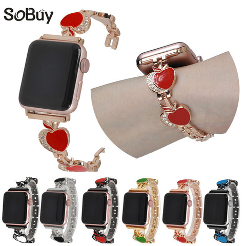 Diamond Stainless Steel alloy Strap for iwatch 38mm/42mm series 3/2/1 - fitnessbeststore