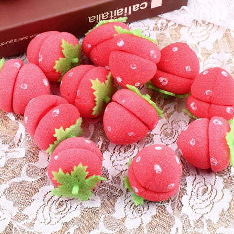 12 pcs Strawberry Balls Hair Rollers