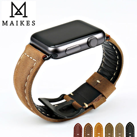 42mm/38mm MAIKES vintage genuine leather apple watch (iWatch) band  for series 1 & 2 - fitnessbeststore