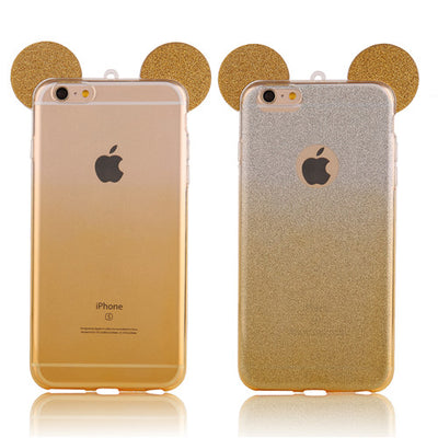 3D Mouse Ears Soft iPhone Case With Hang Rope
