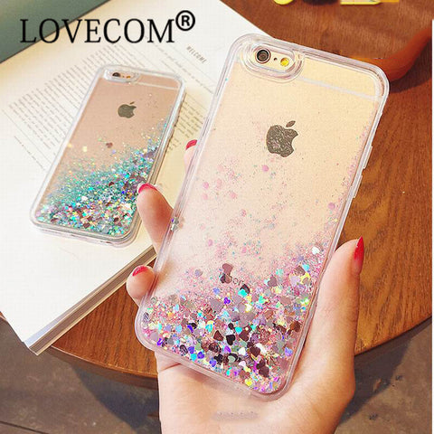 Liquid Love Heart Stars Soft Phone Case For iPhone