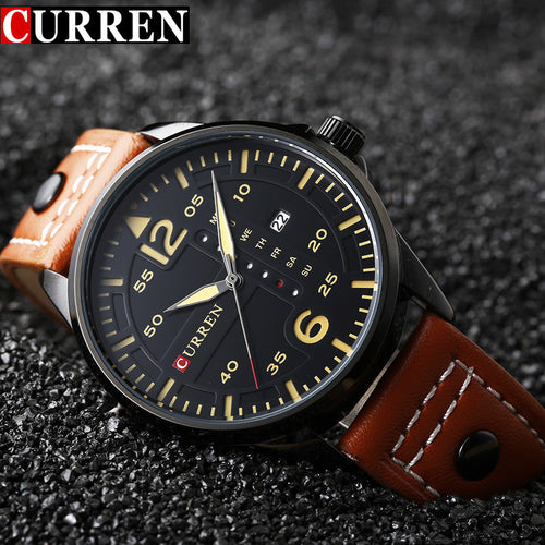 CURREN Leather Strap Men's Sports Watch