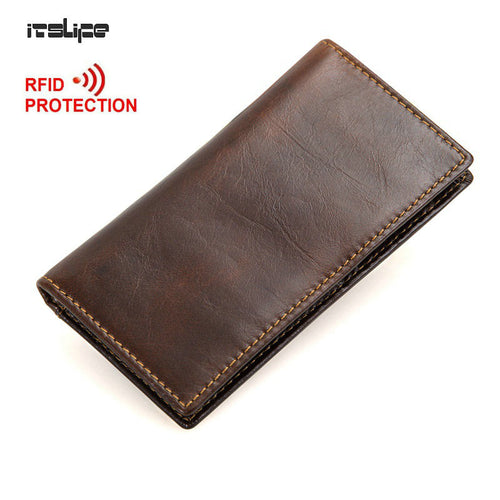 RFID Blocking 100% Genuine Leather Men's Slim Wallet