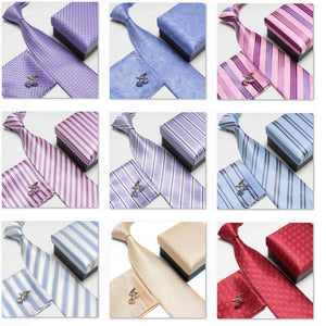Men's Fashion Neck Tie Set _Cuff Links, Silk Tie, and Pocket Square