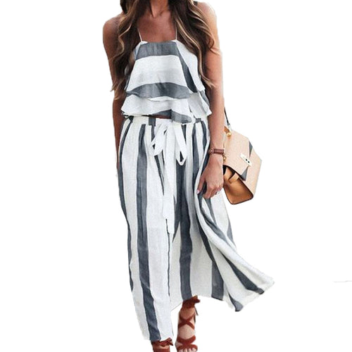 Women's Two Piece Striped Tank And Skirt
